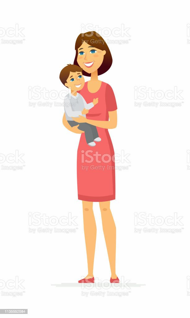 Mother And Son Cartoon People Characters Illustration Stock