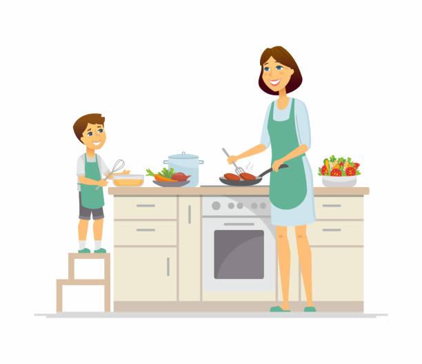 ilustrações de stock, clip art, desenhos animados e ícones de mother and son cooking - cartoon people characters illustration - cooker happy