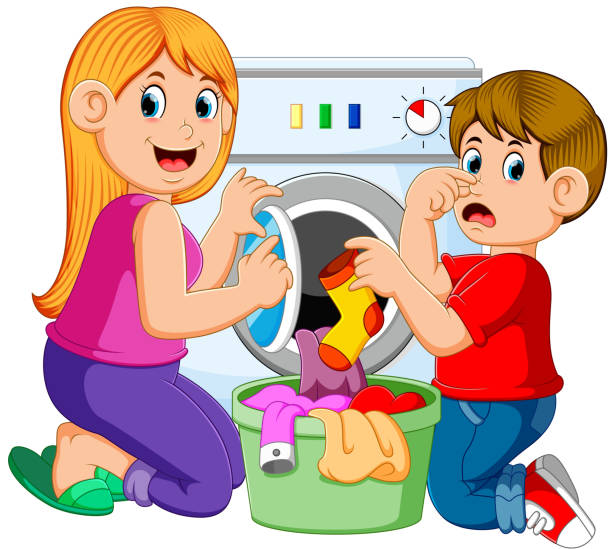 Mother And Son Doing Laundry illustration of Mother And Son Doing Laundry laundry basket stock illustrations
