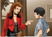 """""""Vector Illustration of a mother, who is angry with her son. The background is on a separate layer, so you can use the illustration on your own background. The colors in the .eps and .ai-files are ready for print (CMYK). Included files: EPS (v8), AI (CS2) and Hi-Res JPG."""""""