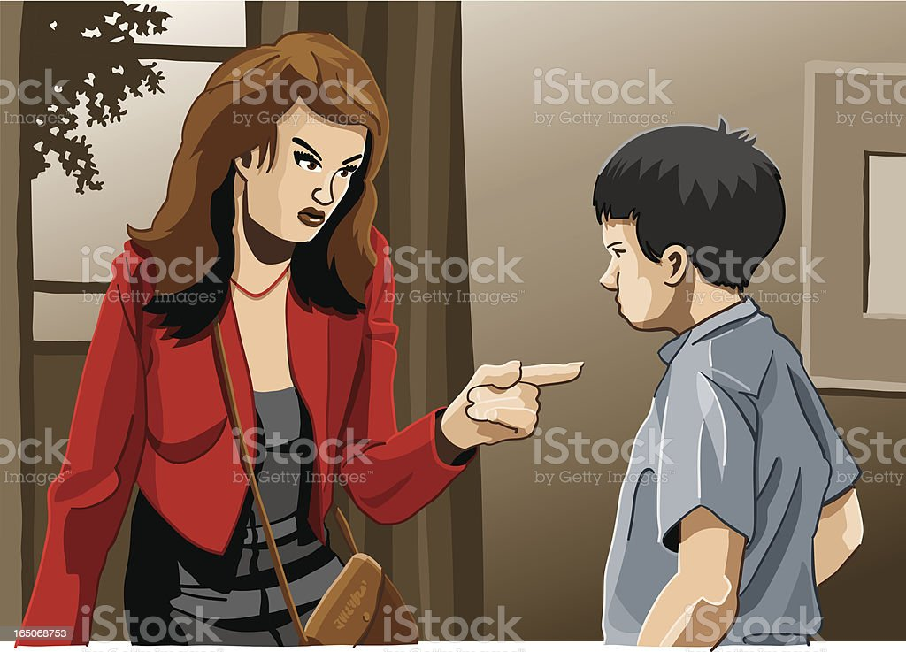 Mother and Son Education Trouble vector art illustration