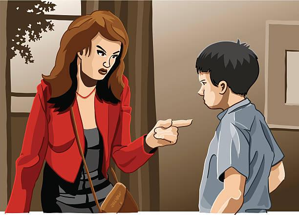 bildbanksillustrationer, clip art samt tecknat material och ikoner med mother and son education trouble - parent talking to child