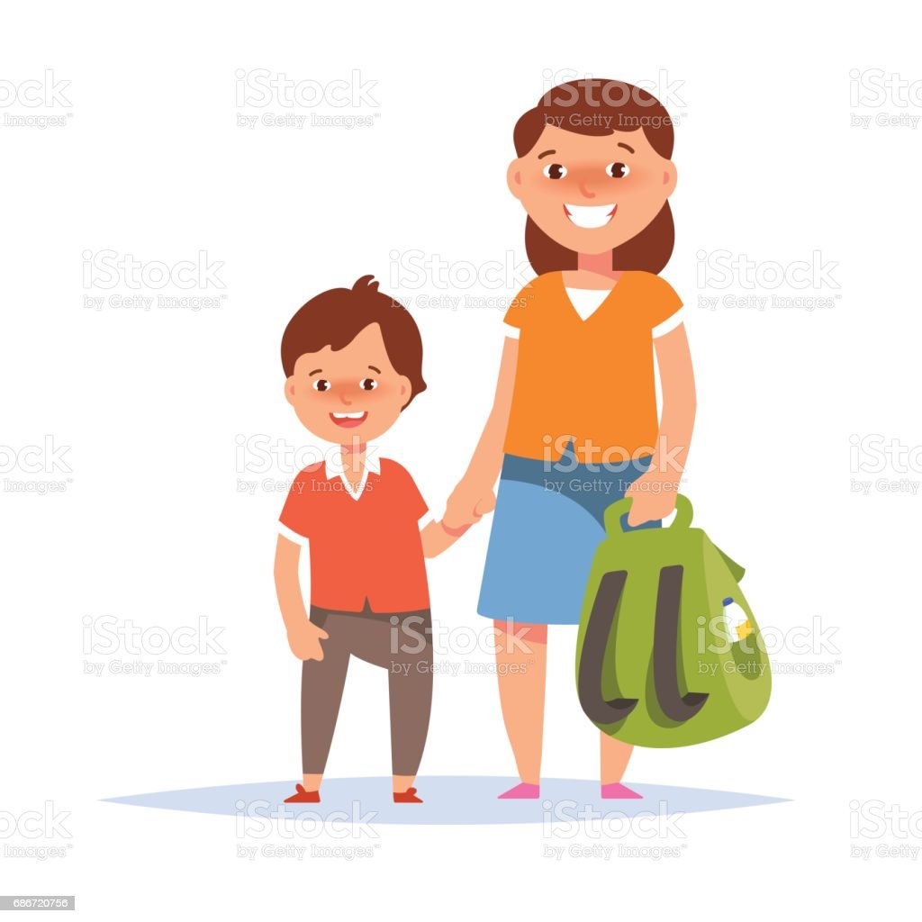 Mother and son elementary schoolboy go to school vector art illustration