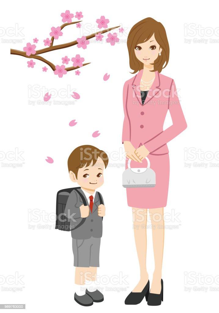 Mother and son. / Enrollment ceremony. vector art illustration