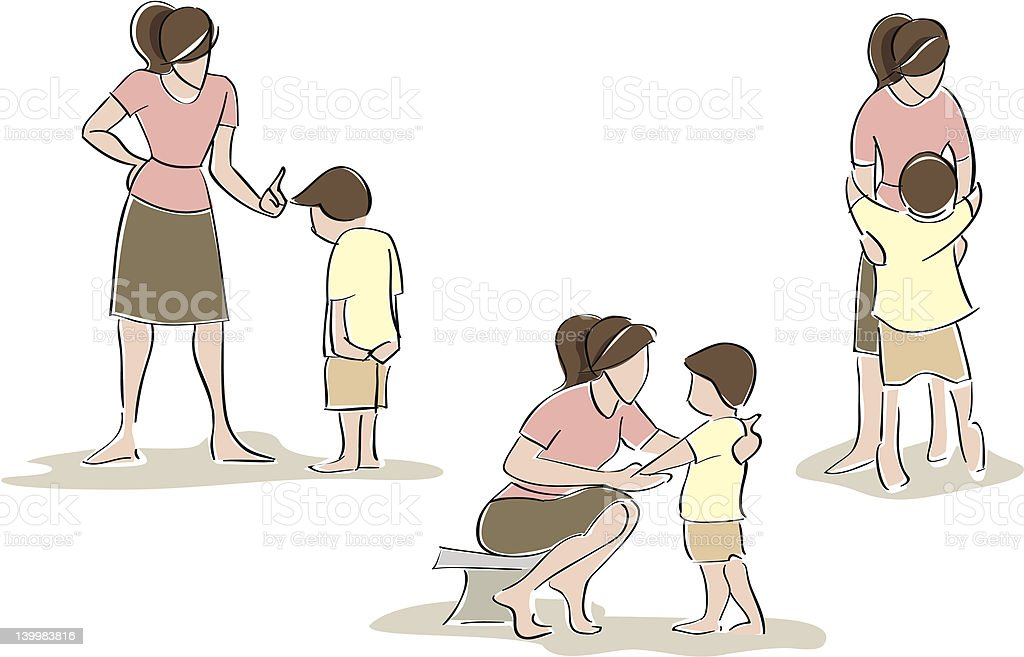 Mother and Son, Gestural vector art illustration