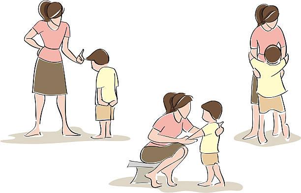 bildbanksillustrationer, clip art samt tecknat material och ikoner med mother and son, gestural - parent talking to child