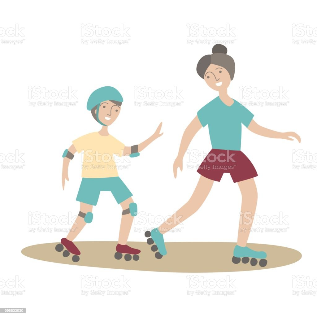 Mother and son on roller skates. Family Sports and physical activity with children, joint active recreation. Vector illustration in flat style, isolated on white. vector art illustration