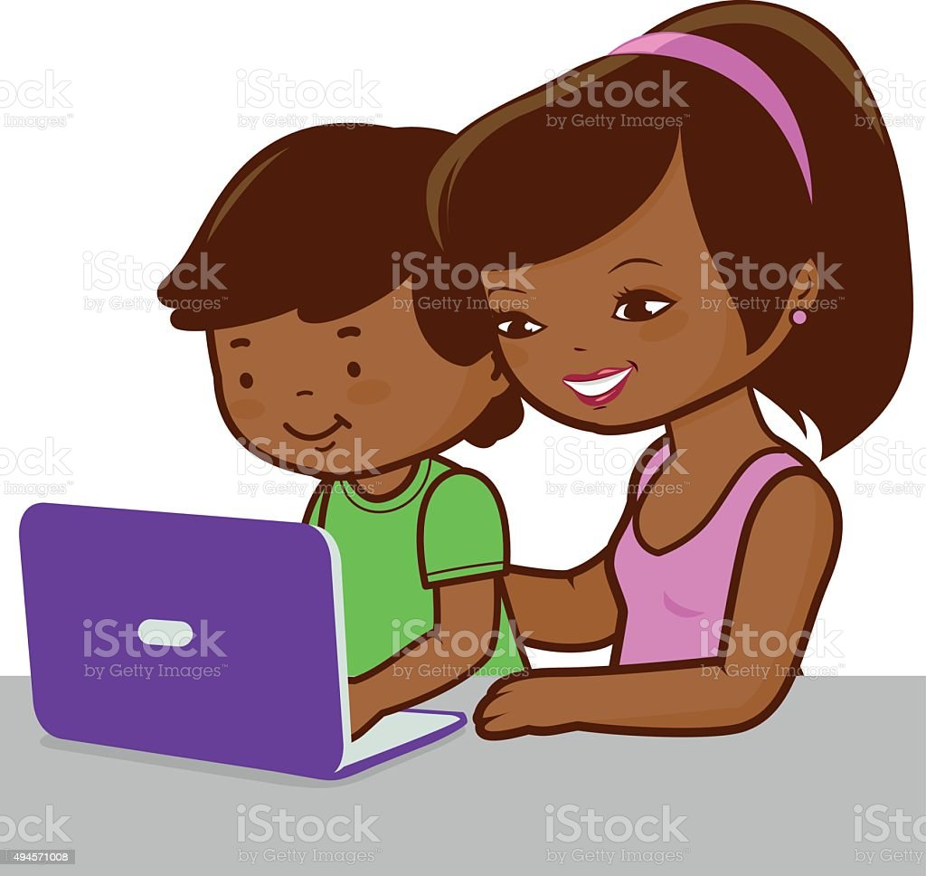 Mother and son on the computer vector art illustration