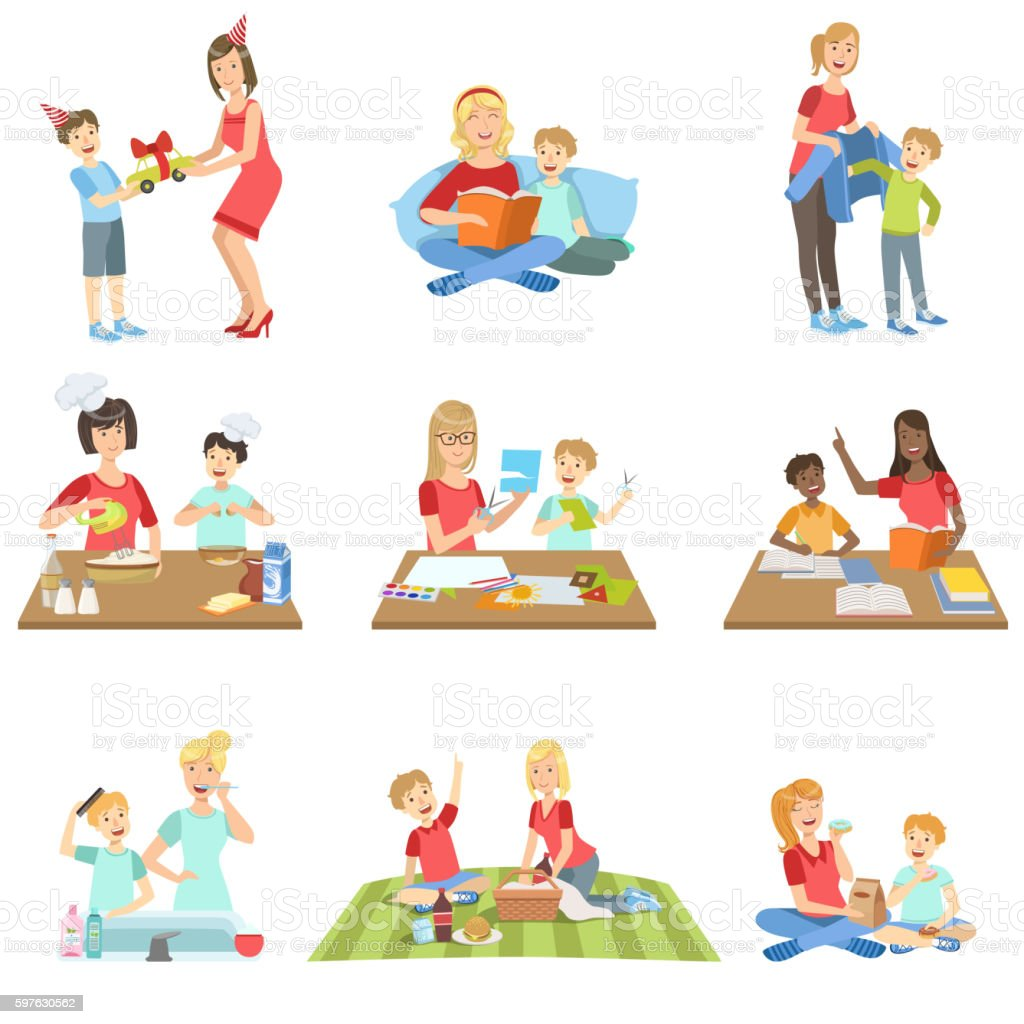 Mother And Son Passing Time Together Set Of Illustrations vector art illustration