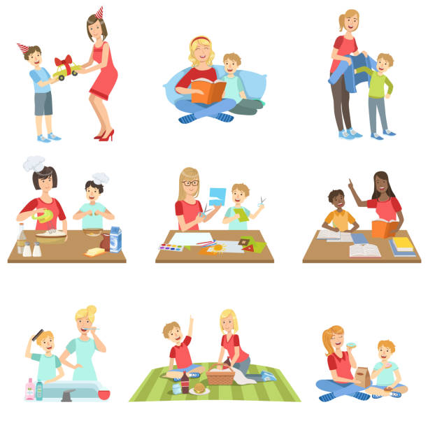 Mother And Son Passing Time Together Set Of Illustrations - Illustration vectorielle