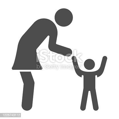 istock Mother and son solid icon, 1st June children protection day concept, Mom and her baby sign on white background, Kid and parent icon in glyph style mobile and web design. Vector graphics. 1225743112