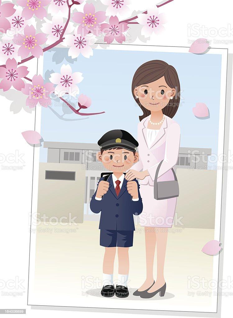 Mother and son under cherryblossom tree vector art illustration