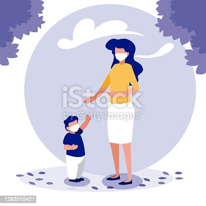 Mother and son with masks outside design of Covid 19 virus theme Vector illustration
