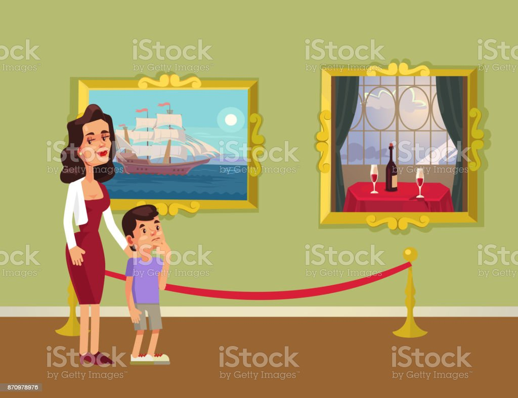 Mother and sun character looking at pictures in gallery vector art illustration