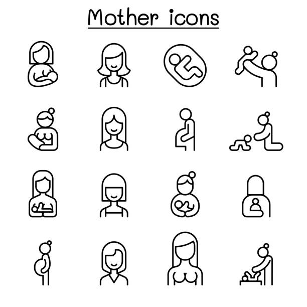 ilustrações de stock, clip art, desenhos animados e ícones de mother and woman icon set in thin line style - mother