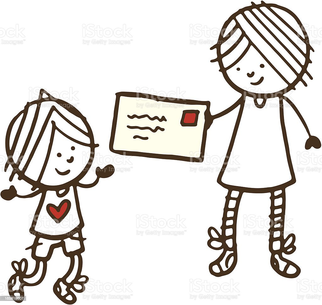 Mother And Young Son With A Letter Stock Illustration - Download