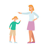 Mother angry at her child, cartoon character conflict with woman trying to discipline a young girl. Upset kid screaming while female nanny points a finger, isolated flat drawing, vector illustration