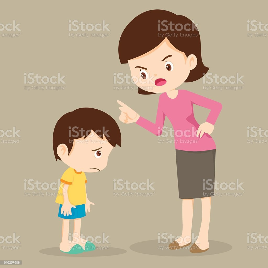 Mother angry at her son and blame vector art illustration