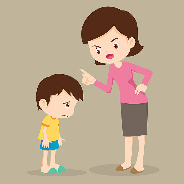 Mother angry at her son and blame Mother scolds her son.Mother angry at her son and blame him.Mom scolds children. punishment stock illustrations