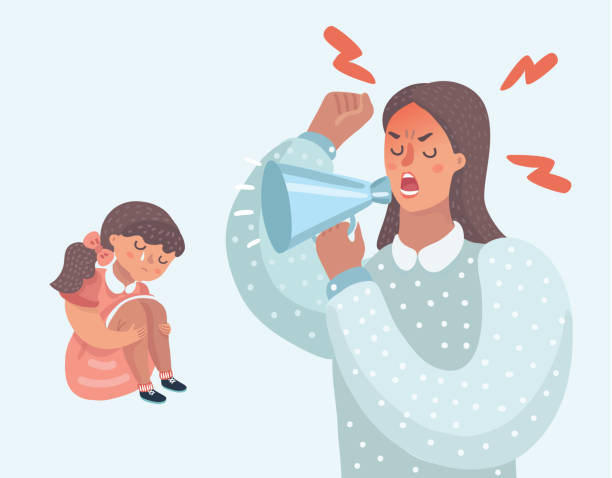 Mother angry with her naughty daughter Vector cartoon illustration of Mother angry with her daughter. Woman cry at her with speak-louder. Little girl crying. demanding mother, improper upbringing, psychological problems in the family. punishment stock illustrations