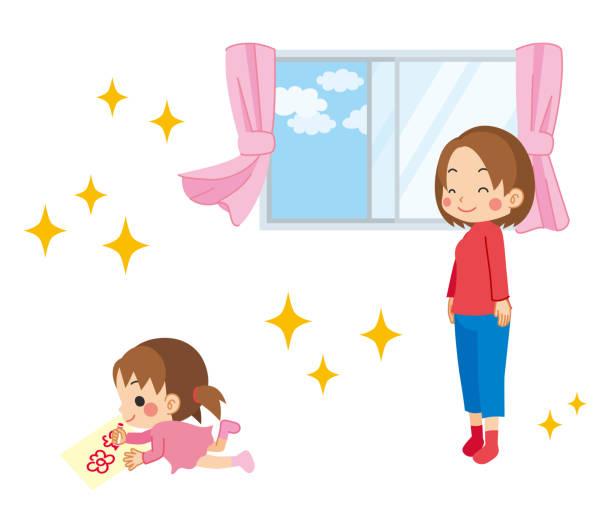 bildbanksillustrationer, clip art samt tecknat material och ikoner med mor till mods i den vackra luften - sparkle teen girl