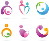 Collection of mother and baby design element.