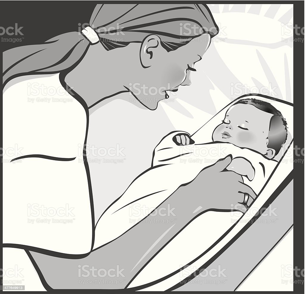 Mother Baby vector art illustration