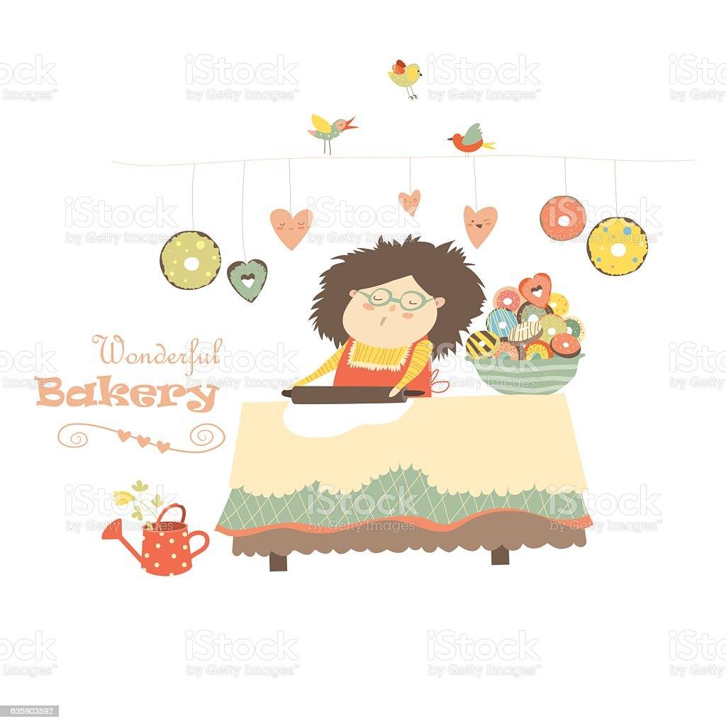 Mother baking donuts vector art illustration
