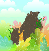 Teddy bears mom and son or daughter fairytale or story illustration for children, cute vector mama characters design in the wild.