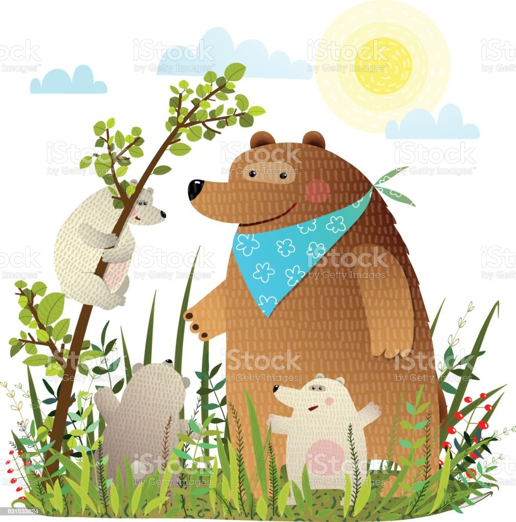 Mother Bear With Cubs In Wild Forest Royalty Free