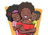 Vector illustration of a mother being hugged by her two children. Vector file contains gradient and transparency effects. Outline and color separated in different layers for easier editing.