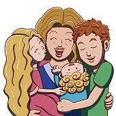 Vector illustration of a mother being hugged by her three children. Outline and color separated into different layers for easier editing in the vector file.