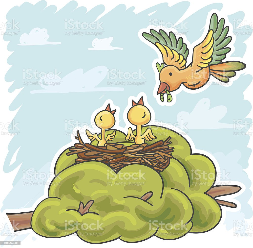 Mother bird feeding baby birds royalty-free stock vector art