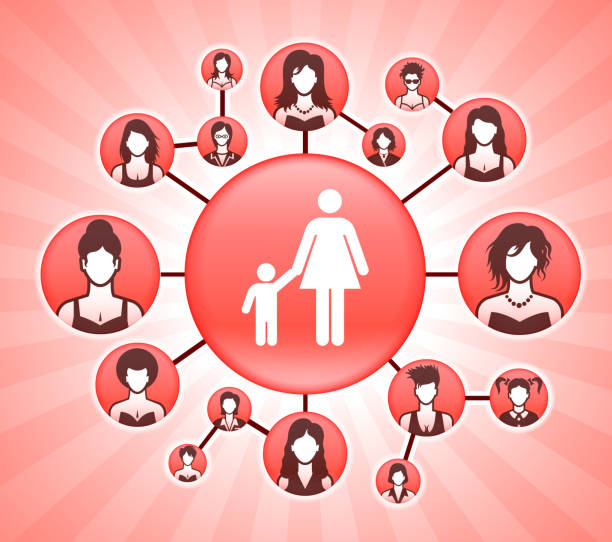 bildbanksillustrationer, clip art samt tecknat material och ikoner med mor & pojke familj kvinnors rättigheter rosa vector bakgrund - kvinna ansikte glow