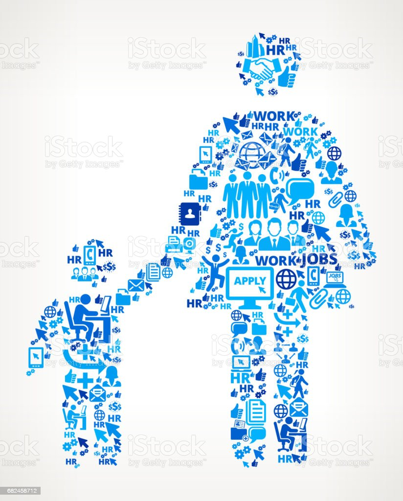 Mother & Boy Family Work and Employment Corporate Icon Background vector art illustration