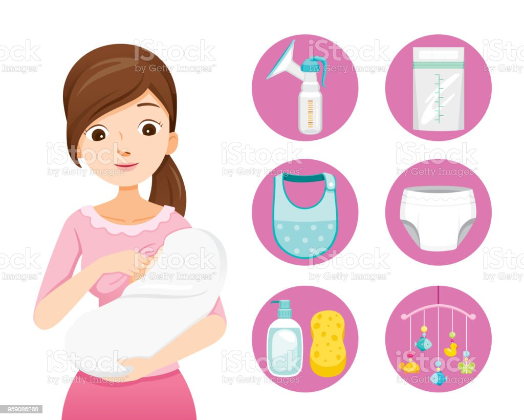 L'allaitement maternel mère et bébé étreindre. Jeu d'icônes de bébé - Illustration vectorielle