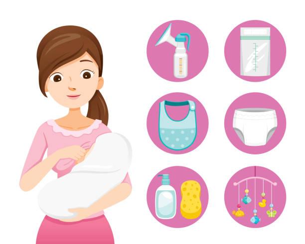 ilustrações de stock, clip art, desenhos animados e ícones de mother breastfeeding and hugging baby. baby icons set - amamentação