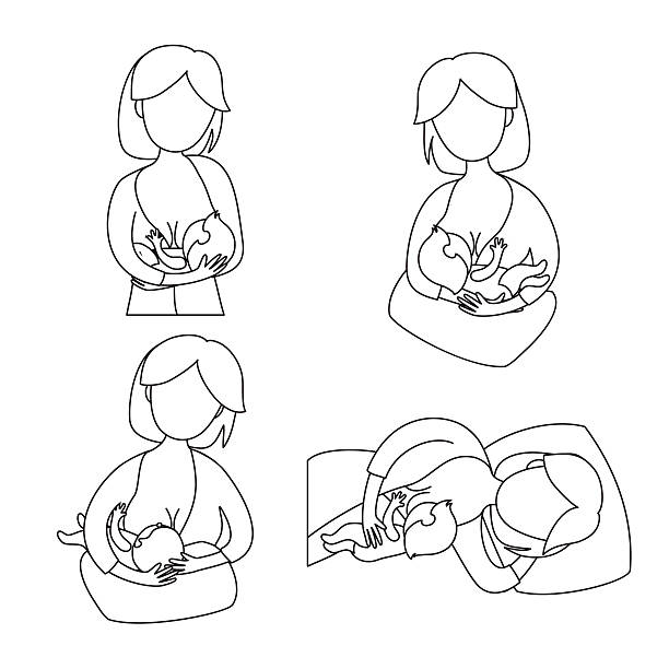 illustrazioni stock, clip art, cartoni animati e icone di tendenza di madre bambino l'allattamento al seno - breast fedding newborn