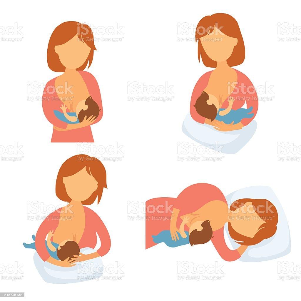 Mother breastfeeding baby vector art illustration