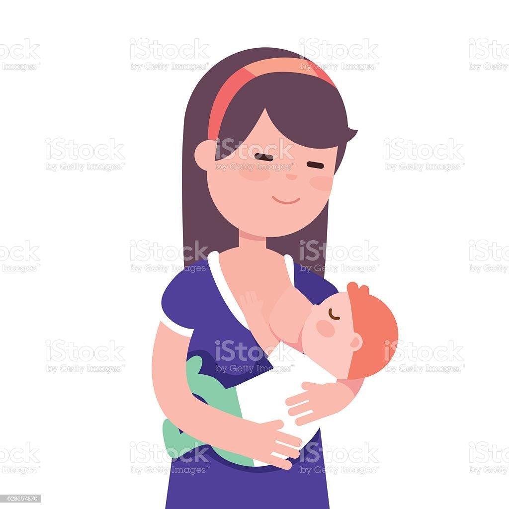 Mother breastfeeding her baby child vector art illustration