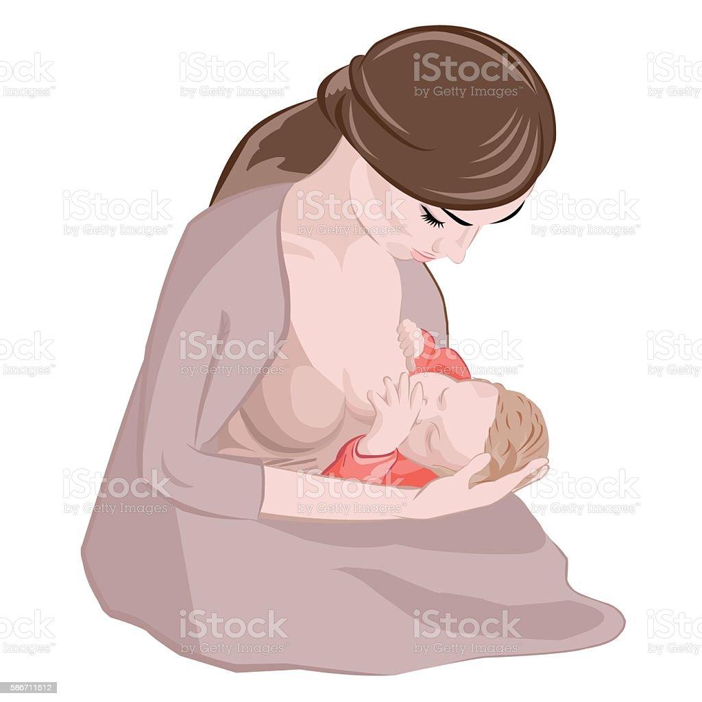Mother breastfeeding her newborn baby child sitting in popular cradle vector art illustration