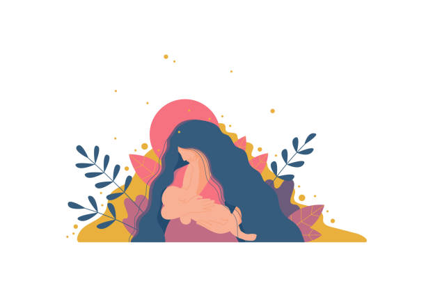 ilustrações, clipart, desenhos animados e ícones de mãe a amamentação seu bebê recém-nascido. - novo bebê