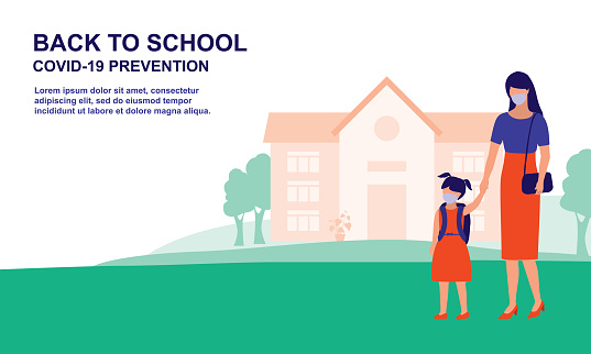 Mother Bring Daughter To School. Education And Back To School Concept. Vector Flat Cartoon Illustration.