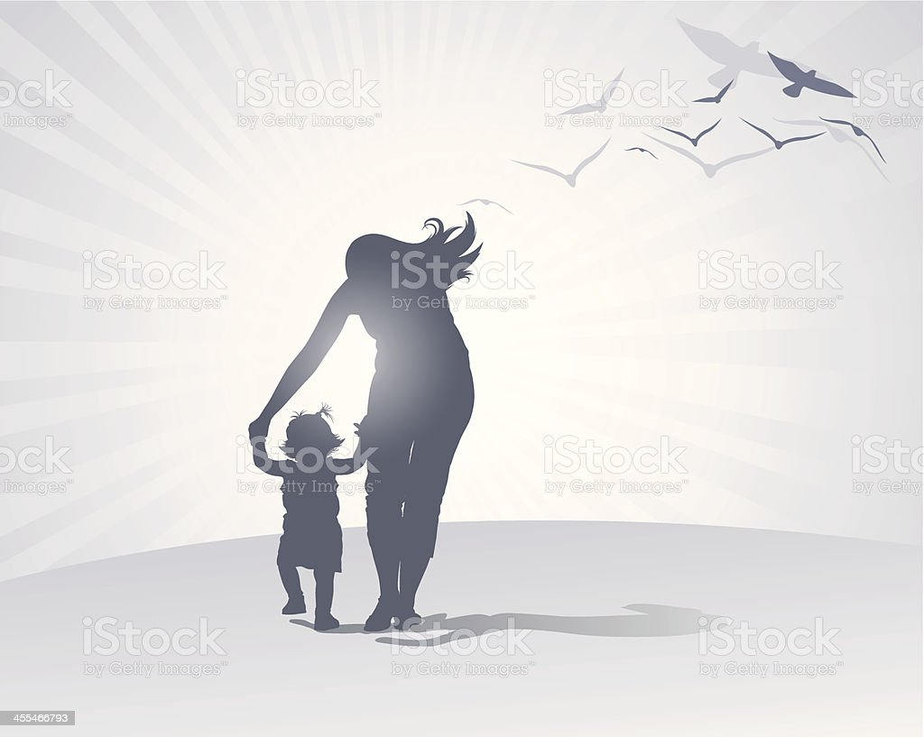 Mother Care vector art illustration