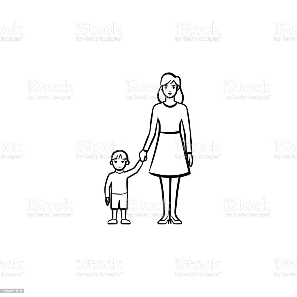A mother caring about a child hand drawn outline doodle icon - Royalty-free Adult stock vector