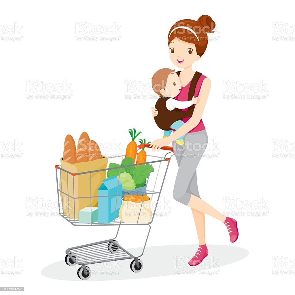Mother Carries Baby And Pushing Shopping Cart vector art illustration