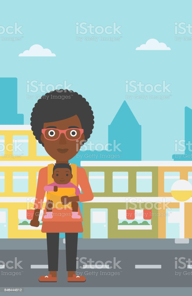 Mother carrying her son in sling. vector art illustration