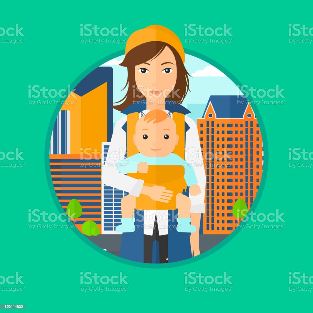 Mother carrying her son in sling vector art illustration