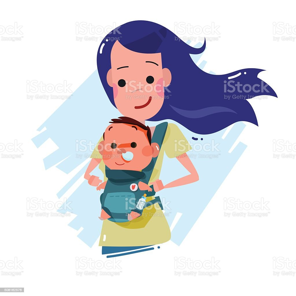 mother carrying little baby. character design. super dad concept vector art illustration