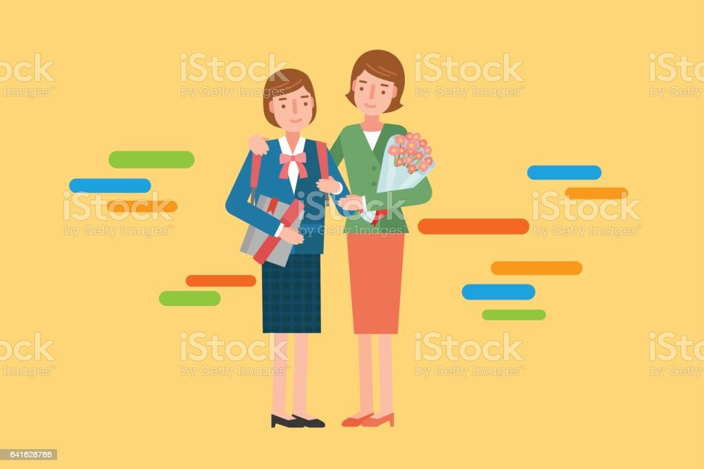 3a9fde2bb6d A mother celebrating Her daughter graduation ceremony. royalty-free a mother  celebrating her daughter